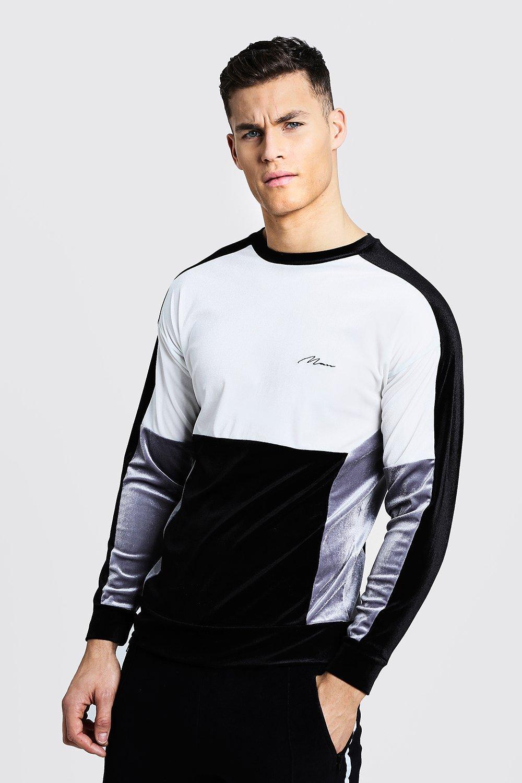 Velour Colour Block MAN Sweater