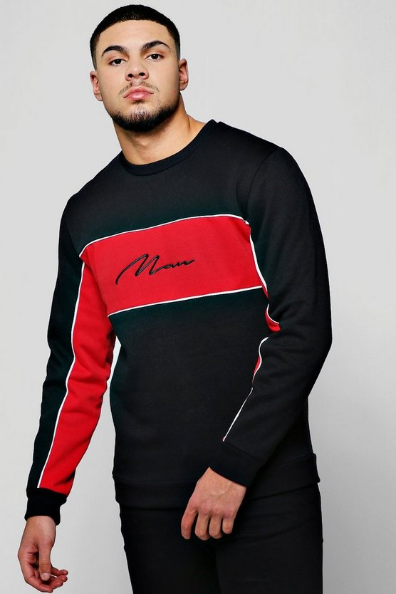 MAN Signature Contrast Panelled Sweater