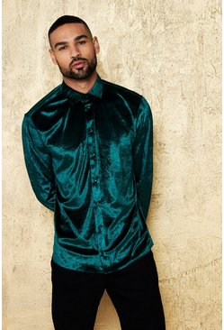 Long Sleeve Velour Shirt, Green, HOMMES