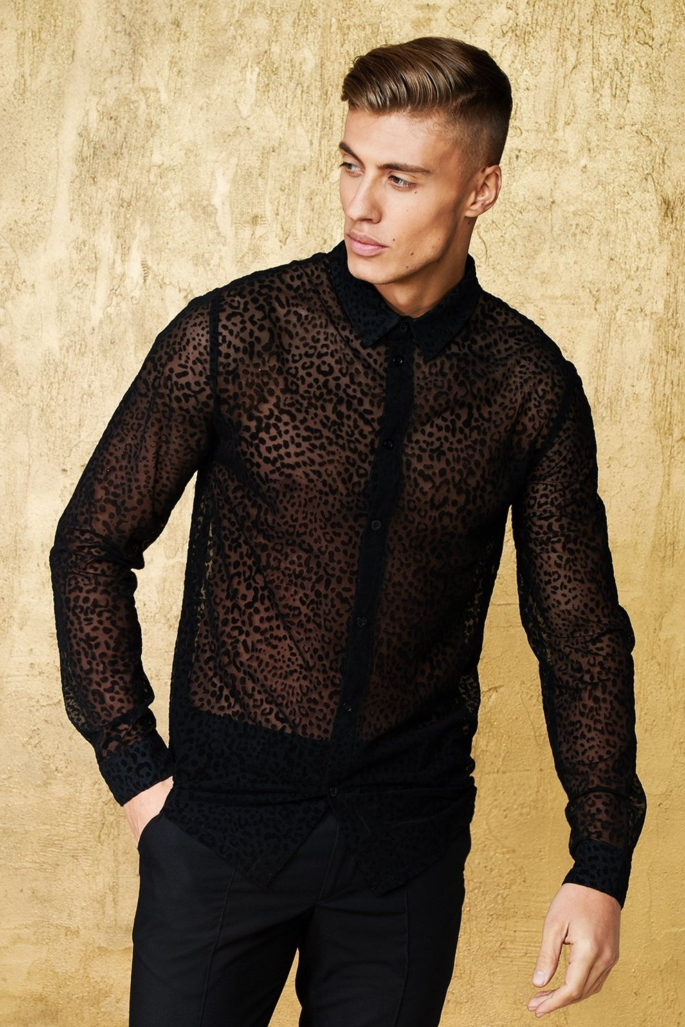 f2d1a7a4158d Mens Black Leopard Mesh Long Sleeve Shirt