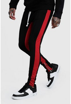 Tricot Skinny Red Side Panel Joggers, Black, HOMMES
