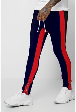 Mens Navy Tricot Skinny Joggers With Side Panel