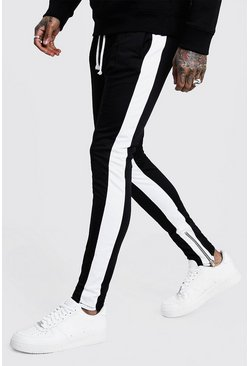 Mens Black Tricot Skinny Fit White Side Panel Joggers