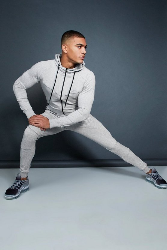 Mens Grey Active Zip Through Hooded Skinny Tracksuit