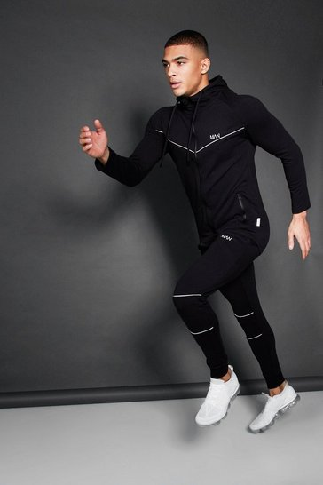 Black Active Zip Through Hooded Skinny Tracksuit