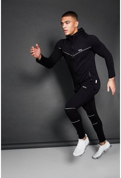 Mens Black Active Zip Through Hooded Skinny Tracksuit