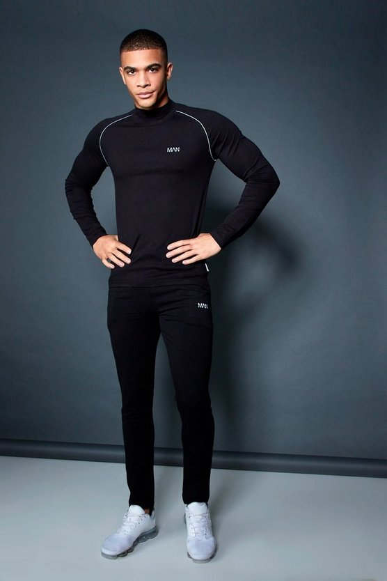 Mens Black Active Funnel T-Shirt Skinny Fit Tracksuit