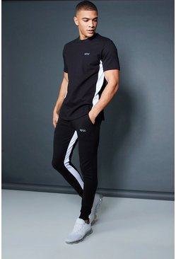 Mens Black Active T-Shirt Skinny Fit Tracksuit