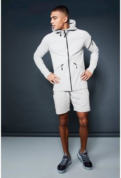 Mens Grey Active Zip Through Hooded Short Tracksuit