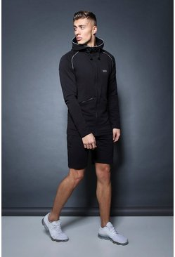Mens Black Active Zip Through Hooded Short Tracksuit