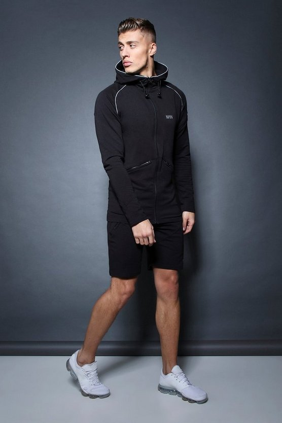 Active Zip Through Hooded Short Tracksuit