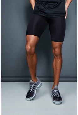 Mens Black Active MAN Waistband Short Gym Tight