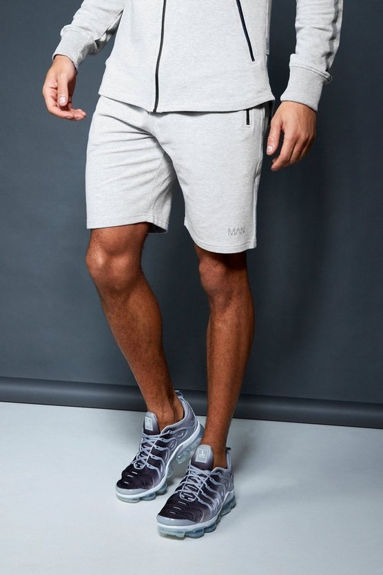 Mens Grey Active Gym Mid Length Shorts