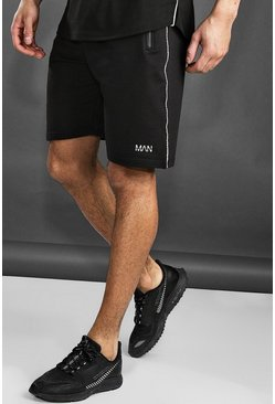 Herr Black Active Gym Mid Length Shorts