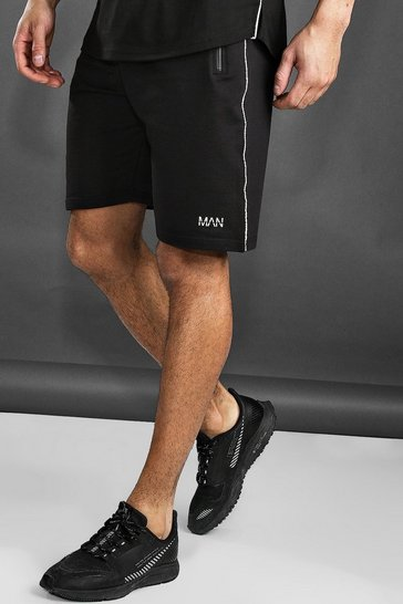 Black Active Gym Mid Length Shorts