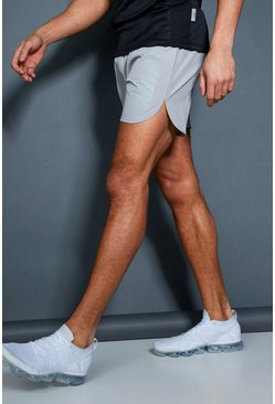 Mens Grey Active MAN Print Gym Runner Shorts