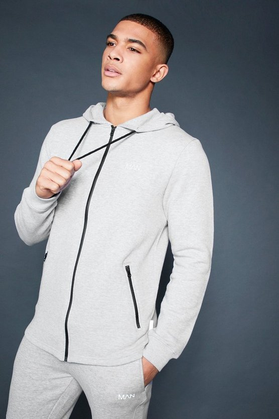 Mens Grey Active Zip Through Fleece Hoodie