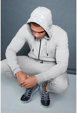 Mens Grey Active Zip Through Hoodie With Hood Print