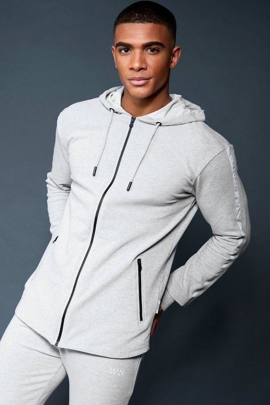 Active Zip Through Hoodie With Reflective Panel