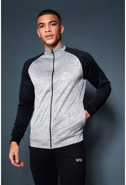 Mens Grey Active Gym Track Top With Contrast Sleeve