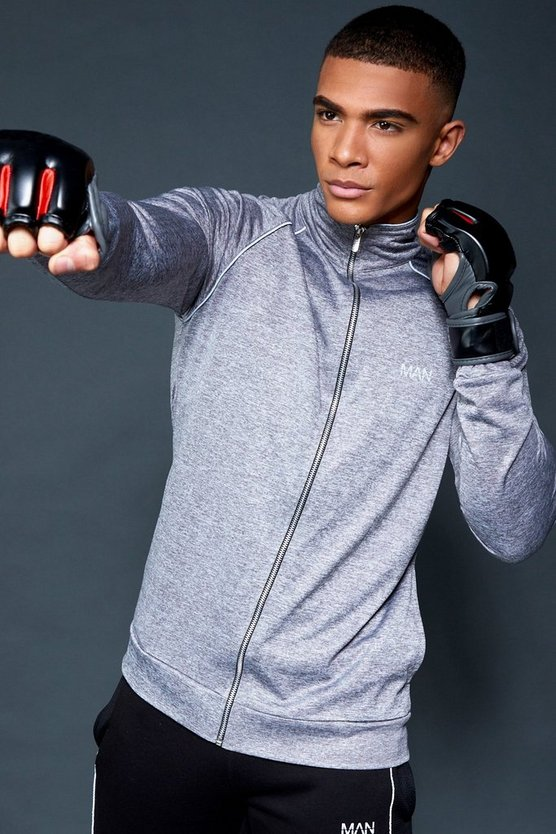 Grey Active Gym Track Top With Reflective Piping