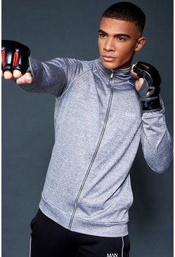 Mens Grey Active Gym Track Top With Reflective Piping