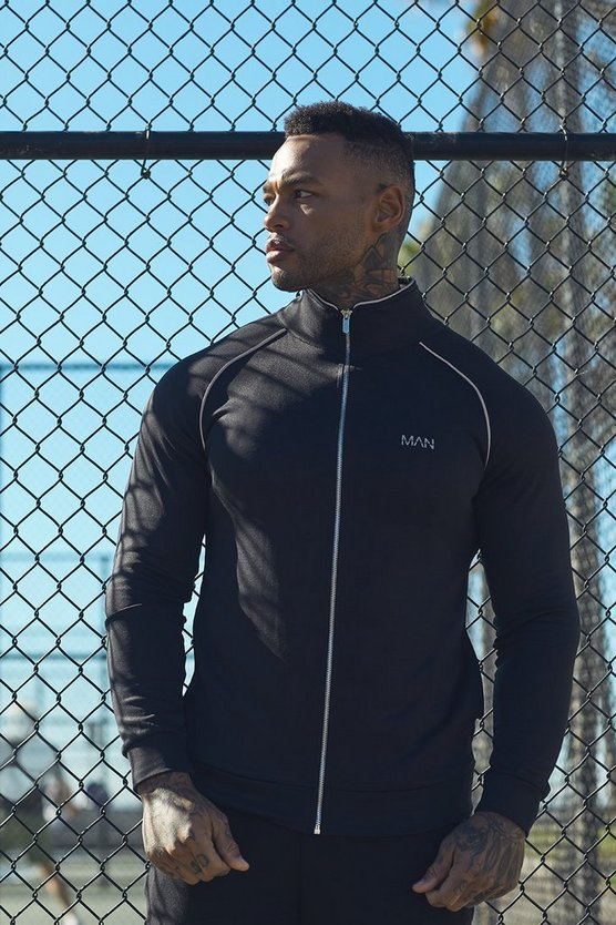 Active Gym Track Top With Reflective Piping