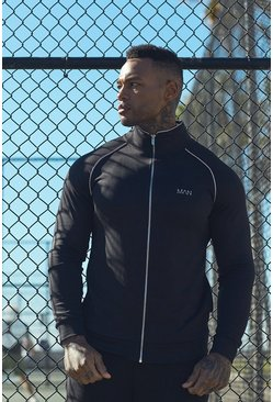 Mens Black Active Gym Track Top With Reflective Piping