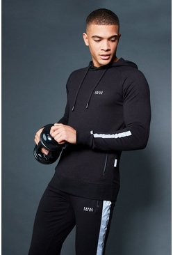 Mens Black Active Over The Head Raglan Hoodie