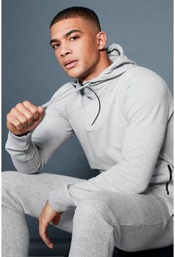 Mens Grey Active Over The Head 1/4 Zip Raglan Hoodie