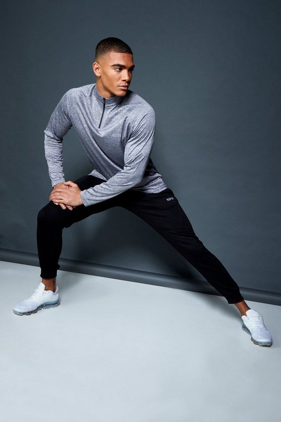 Active 1/4 Zip Funnel Neck Gym Track Top, Grey, Uomo