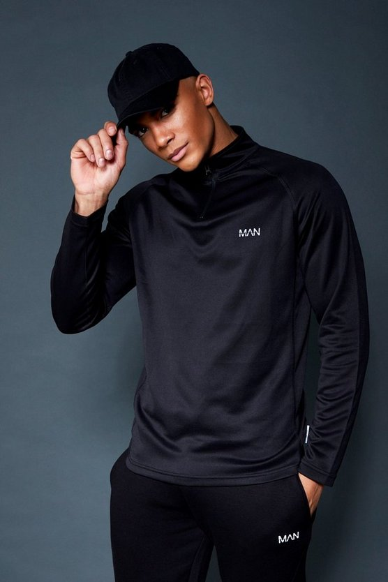 404910f6ce8e Shoptagr | Active 1/4 Zip Funnel Neck Gym Track Top by Boohoo Man