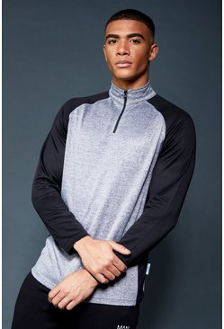 Mens Grey Active 1/4 Zip Funnel Neck Gym Track Top
