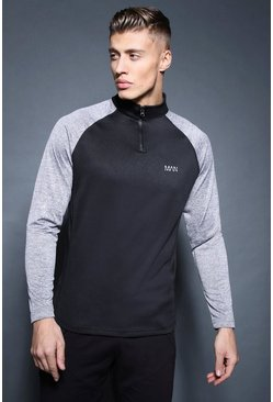 Mens Black Active 1/4 Zip Funnel Neck Gym Track Top