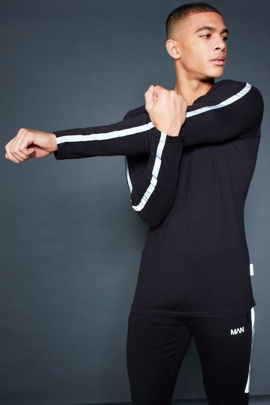 Active Long Sleeve T-Shirt With Reflective Piping
