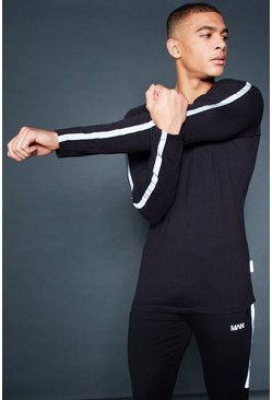 Mens Black Active Long Sleeve T-Shirt With Reflective Piping
