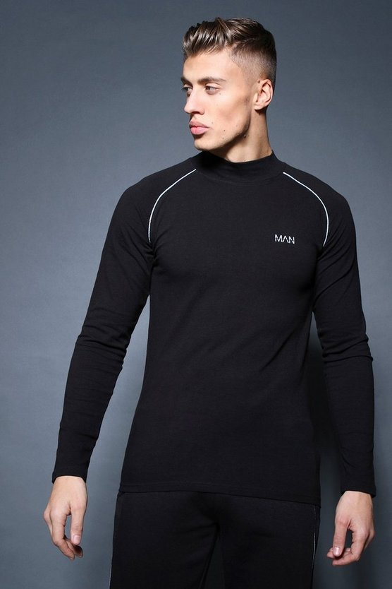 Active Long Sleeve Funnel Neck Raglan T-Shirt