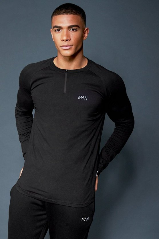 Active Long Sleeve Raglan T-Shirt With 1/4 Zip Neck