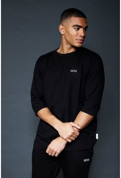 Mens Black Active Loose Fit 3/4 Sleeve T-Shirt