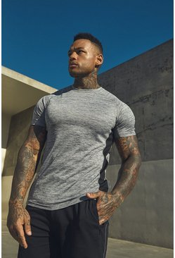 Mens Grey Active Raglan Gym T-Shirt With Reflective Panel