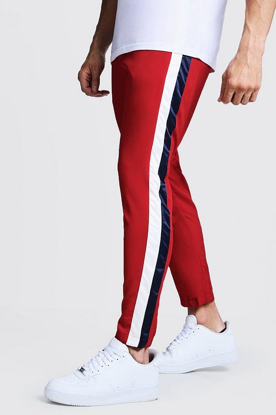 Mens Red Red Trouser With Stripe Side
