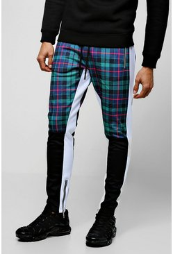 Mens Green Tricot Tartan Half Colour Block Skinny Joggers
