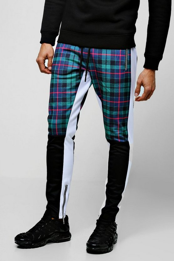 Jogging skinny en tricot demi colour block à carreaux tartan, Vert, Homme