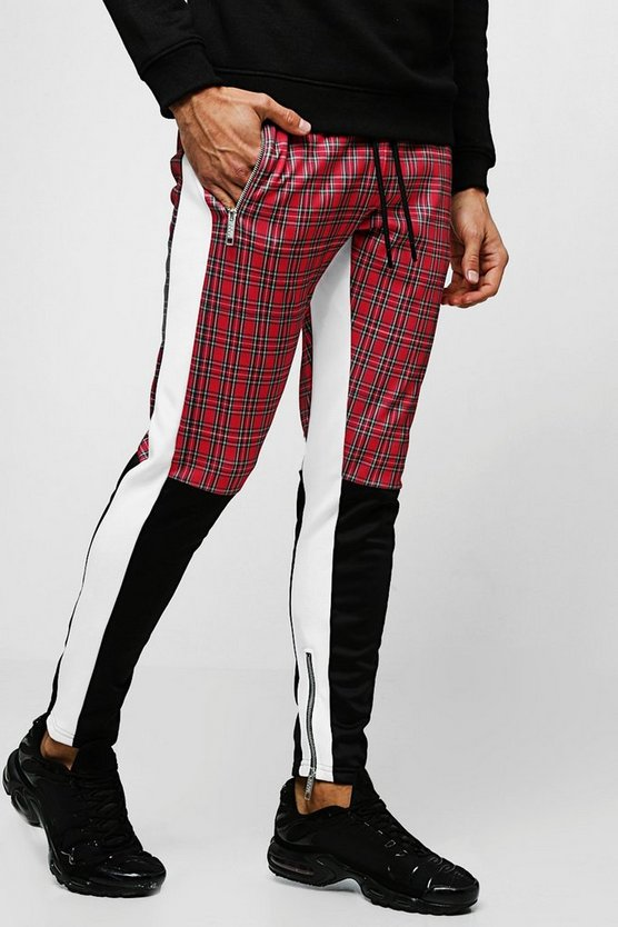 Mens Red Tricot Tartan Half Colour Block Skinny Joggers