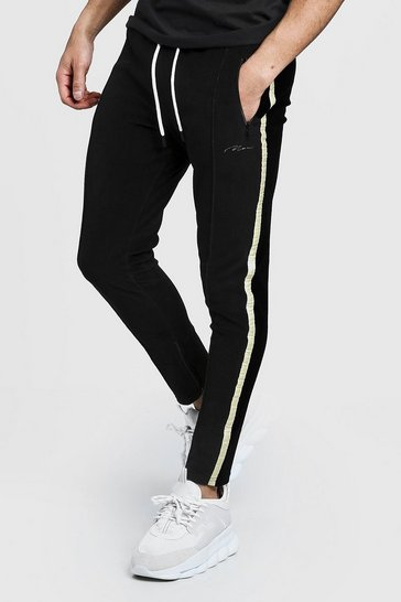 Mens Black Velour MAN Signature Joggers With Gold Side Tape