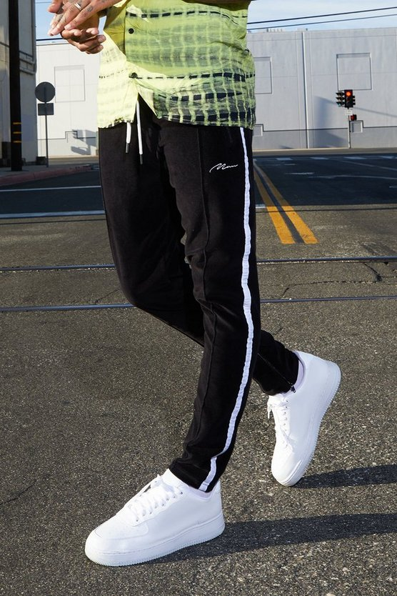 Velour MAN Joggers With Side Tape