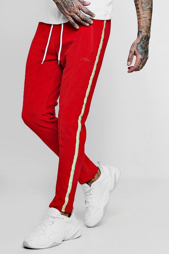 Mens Red Velour MAN Signature Joggers With Side Tape