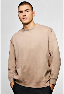 Mens Taupe Oversized Sweater