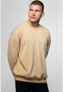 Mens Mustard Oversized Sweater With Ribbed Panels