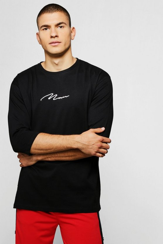 Mens Black MAN Signature Loose Fit 3/4 Sleeve T-Shirt